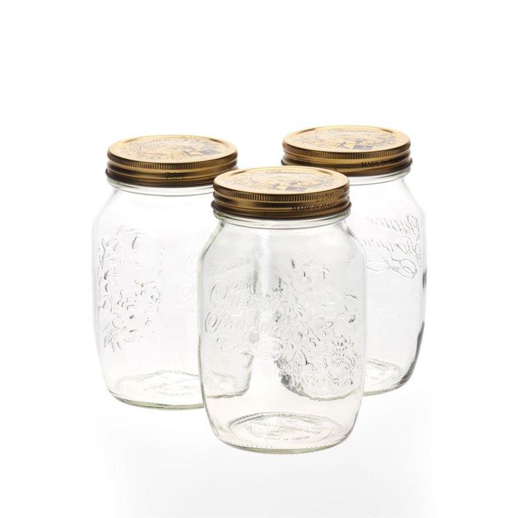 Bormioli Rocco Quattro Stagioni Storage Jars 1L 3pc Set
