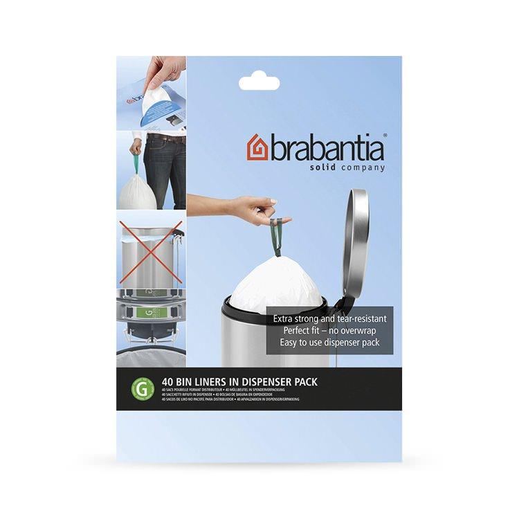 Brabantia Bin Liner 23/30 Litre 40 Bags White