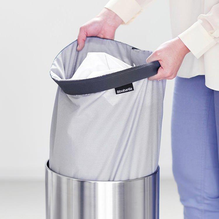 Brabantia Laundry Bin 35L Matte Steel w/ Grey Plastic Lid