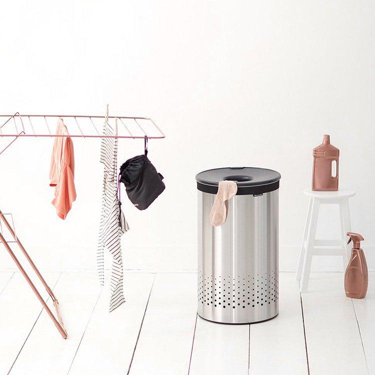 Brabantia Laundry Bin 60L Matte Steel w/ Grey Plastic Lid