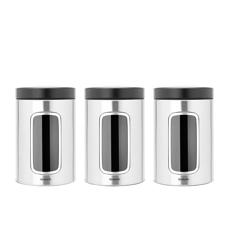 Brabantia Matte Steel Window Canister 1.4L 3pc Set with Black Lid