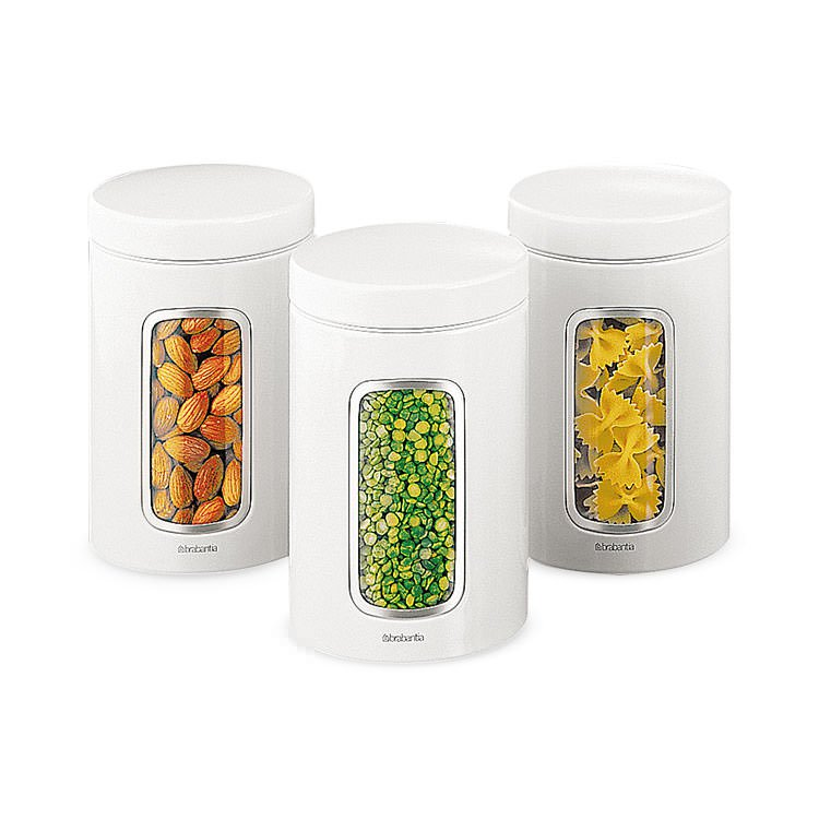 Brabantia Window Canister 1.4L 3pc Set White