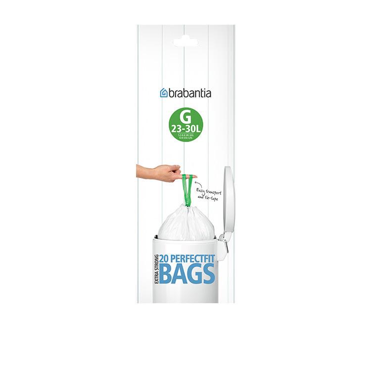 Brabantia Bin Liner 23/30 Litre 20 Bags White