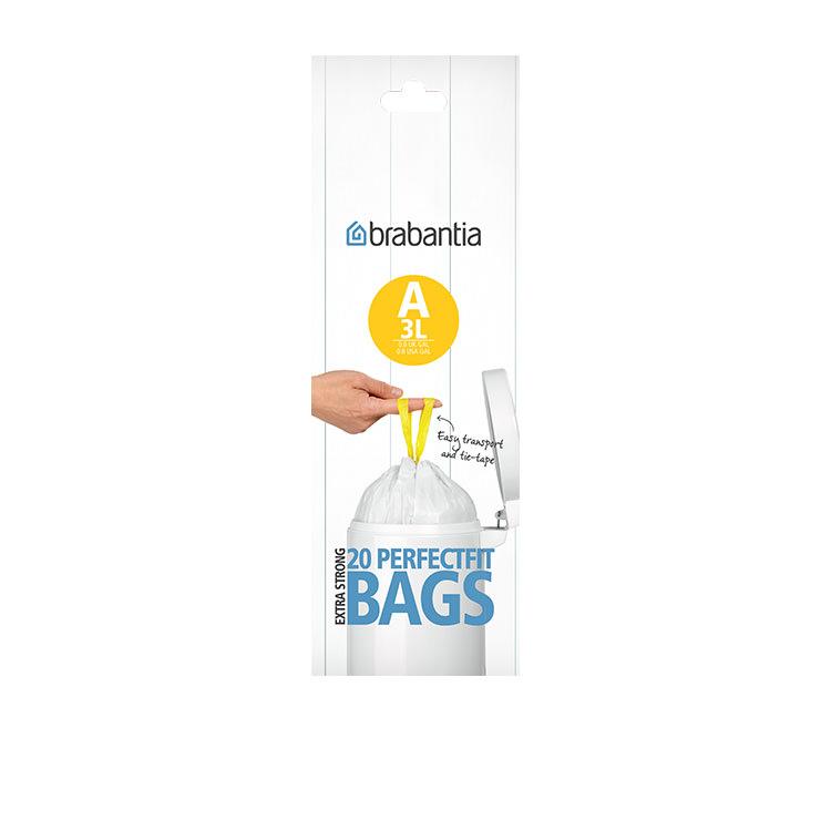 Brabantia Bin Liner 3 Litre 20 Bags White