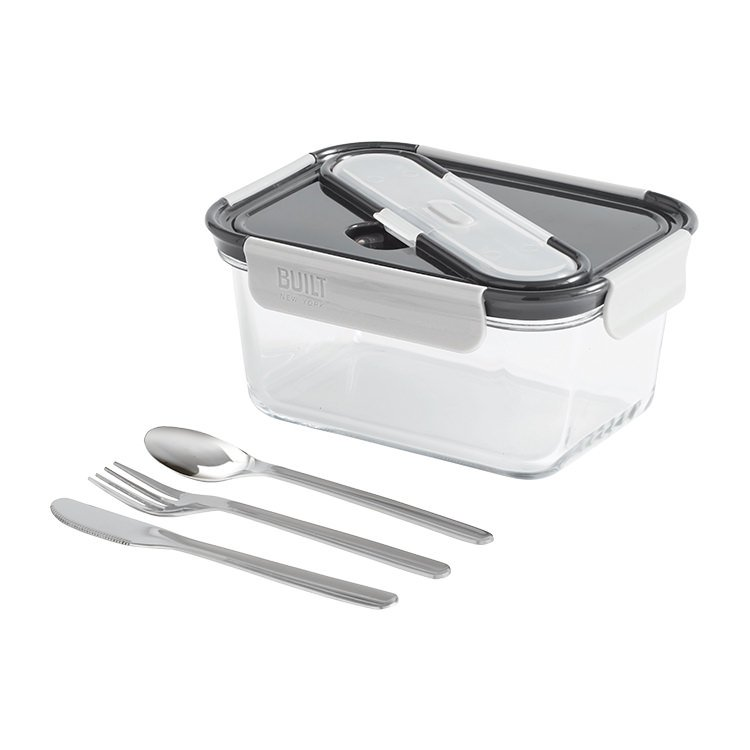 BUILT NY Gourmet Glass Bento Lunch Box w/ Stainless Steel Utensils 1.35L 5pc Set