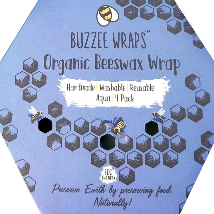Buzzee Organic Beeswax Wraps Aqua 4 Pack