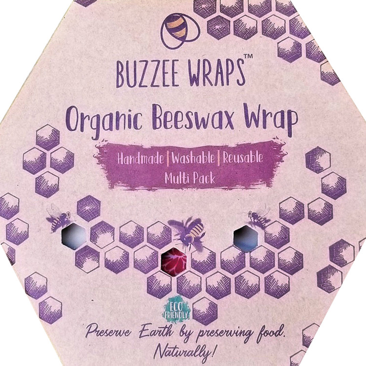 Buzzee Organic Beeswax Wraps Assorted 3 Pack