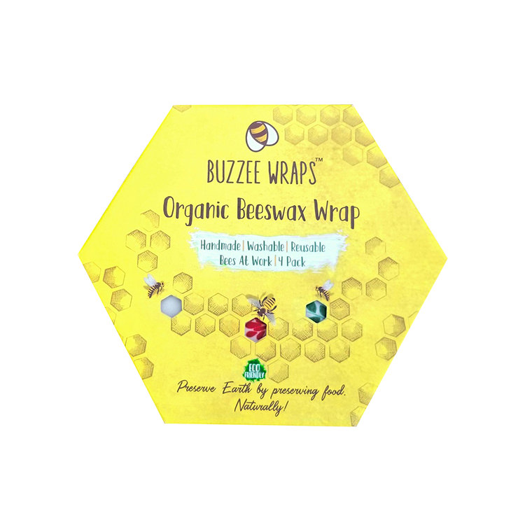 Buzzee Organic Beeswax Wraps Bees at Work 4 Pack