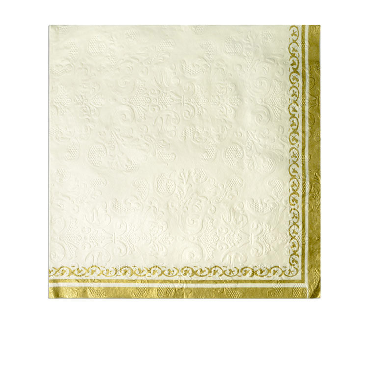 Casa Regalo 3ply Embossed Napkin 20pk White and Gold