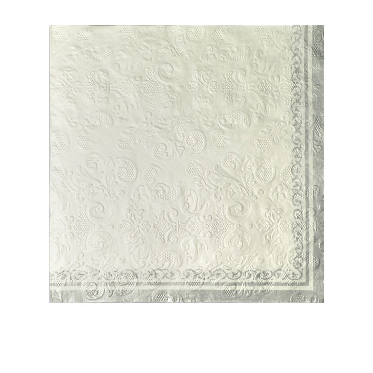 Casa Regalo 3ply Embossed Napkin 20pk White and Silver