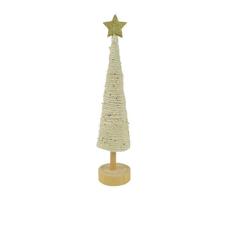 Casa Regalo White Wool and Glitter Cone Tree 37cm