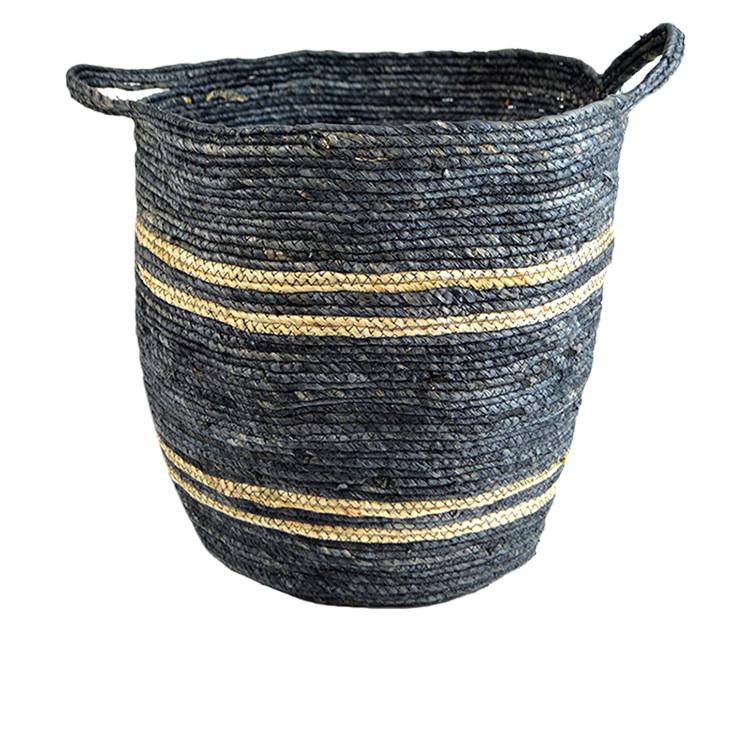 Casa Regalo Maize Round Basket w/ Handle Large 38x40cm Navy