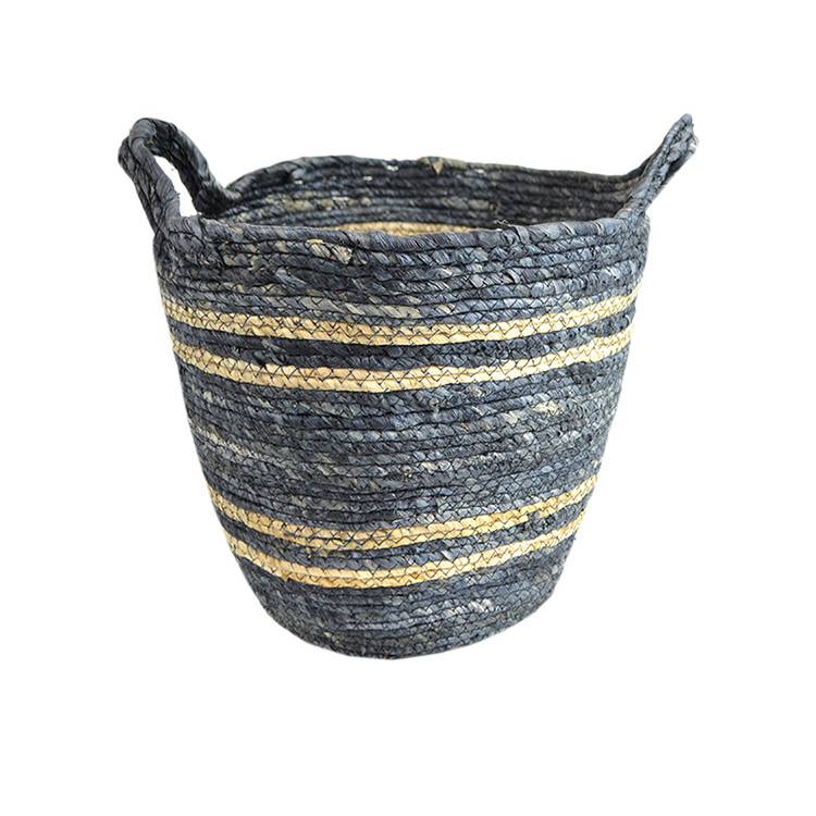 Casa Regalo Maize Round Basket w/ Handle Small 32x30cm Navy