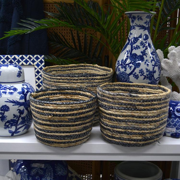 Casa Regalo Maize Round Basket Large 24x18cm Navy