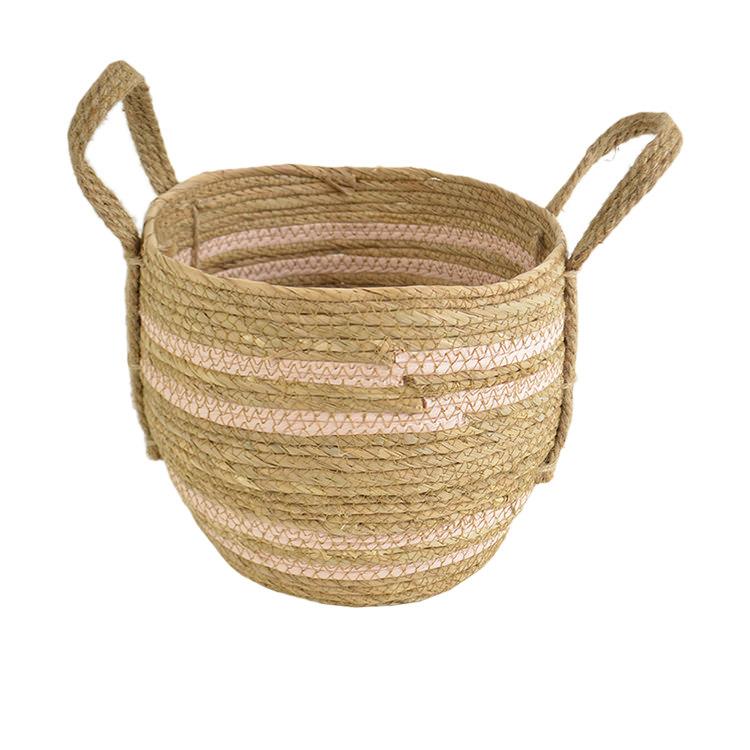 Casa Regalo Maize Round Basket w/ Handle Medium 29x25cm Pink