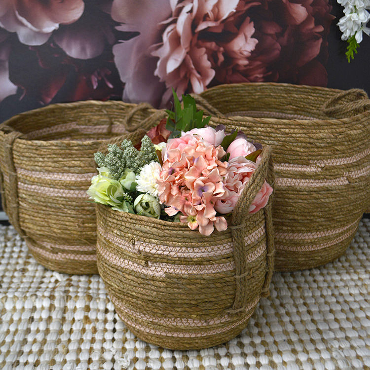 Casa Regalo Maize Round Basket w/ Handle Large 34x30cm Pink