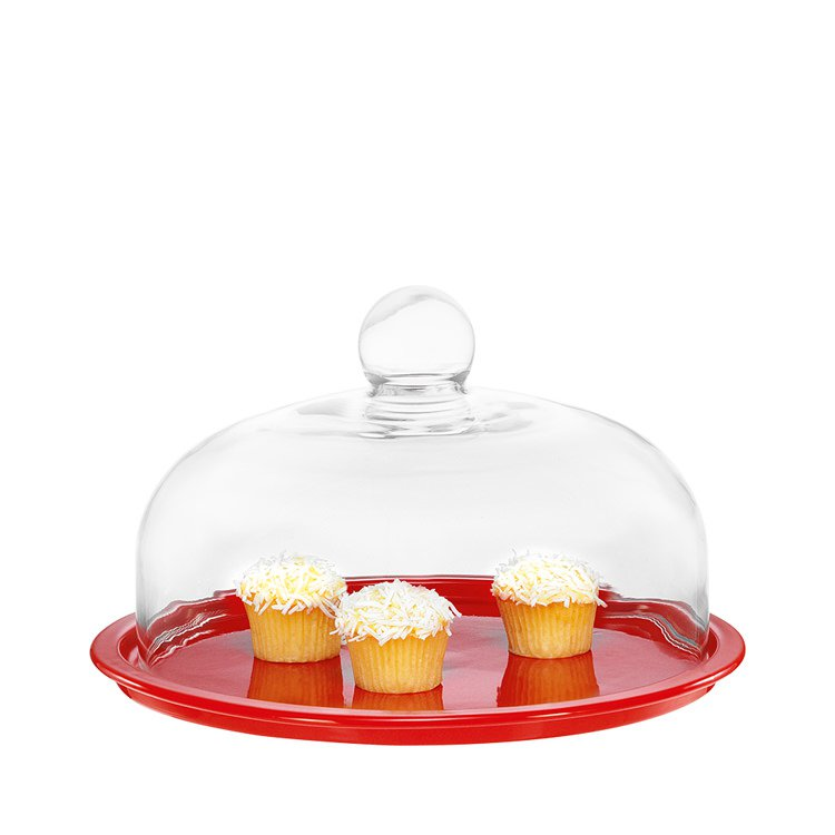 Chasseur La Cuisson Cake Platter with Lid 26cm Inferno Red