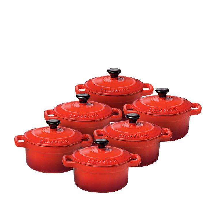 Chasseur La Cuisson Mini Cocotte Set of 6 Inferno Red