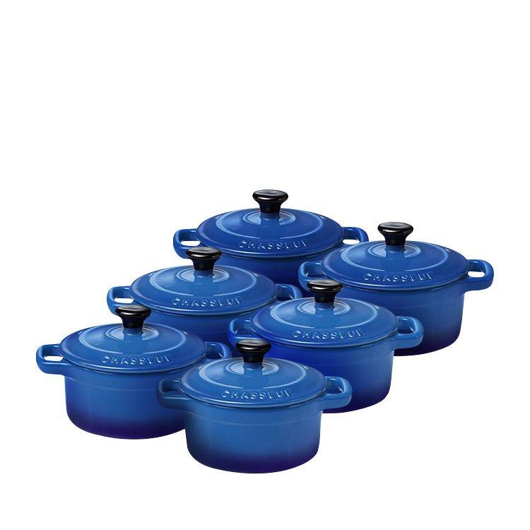 Chasseur La Cuisson Mini Cocotte Set of 6 Sky Blue