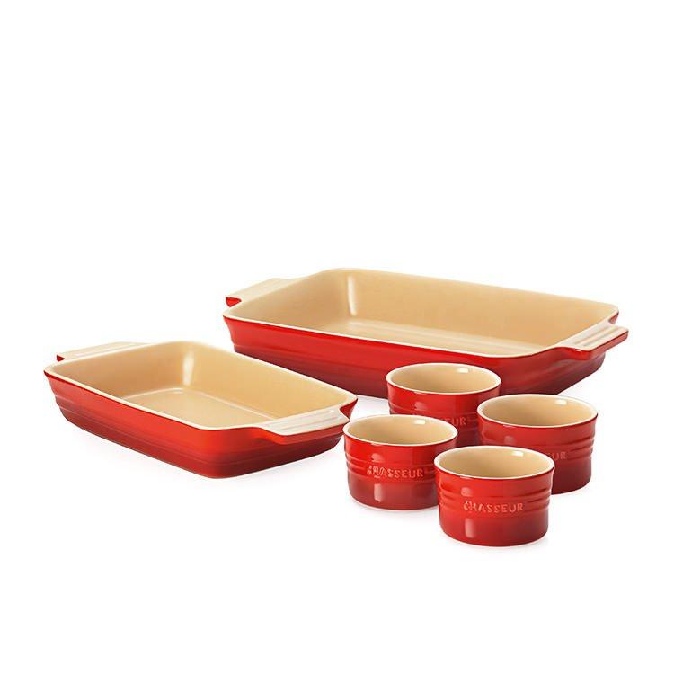 Chasseur La Cuisson Red 4pc Baking Set with Bonus Set of 2 Ramekins