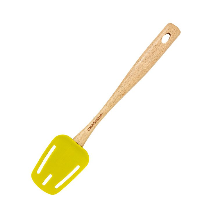 Chasseur Silicone Slotted Spoon with Beechwood Handle Lime