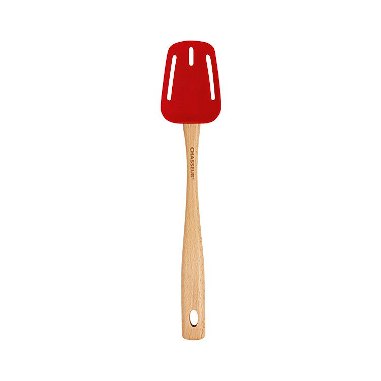Chasseur Silicone Slotted Spoon with Beechwood Handle Red