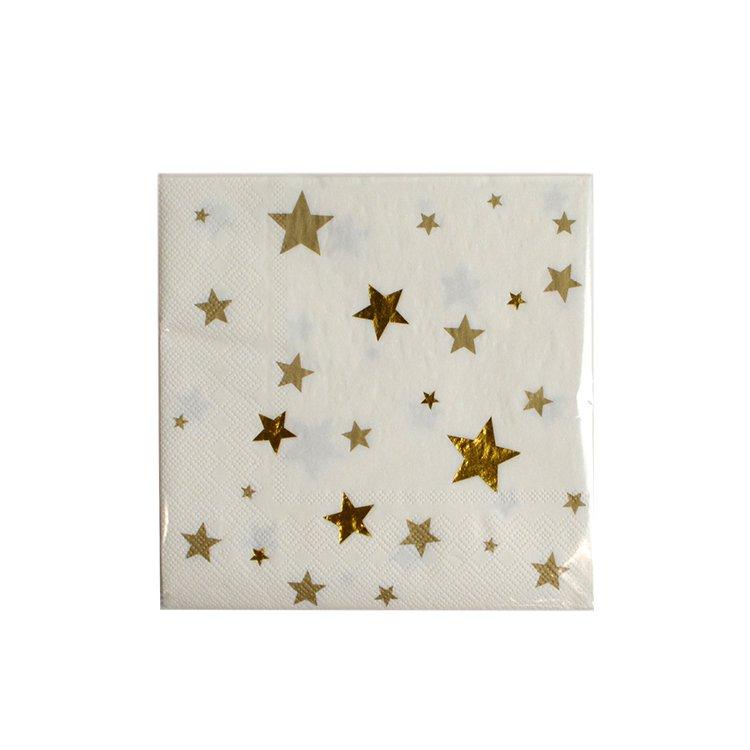 Christmas Time 3ply Napkins Gold Star 33x33cm 20pk