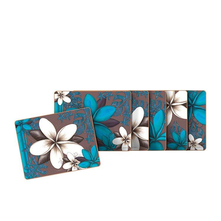 Cinnamon Aqua Frangipani Coasters Set of 6