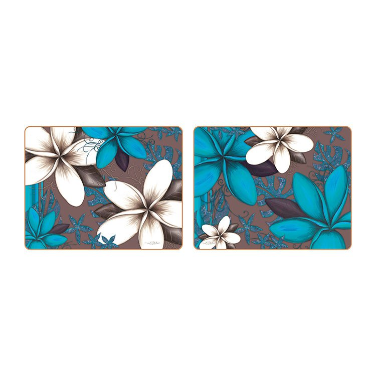 Cinnamon Aqua Frangipani Placemats Set of 6