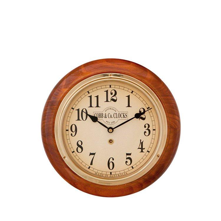 Cobb & Co Arabic Numeral Golden Oak Small Railway Clock 28cm
