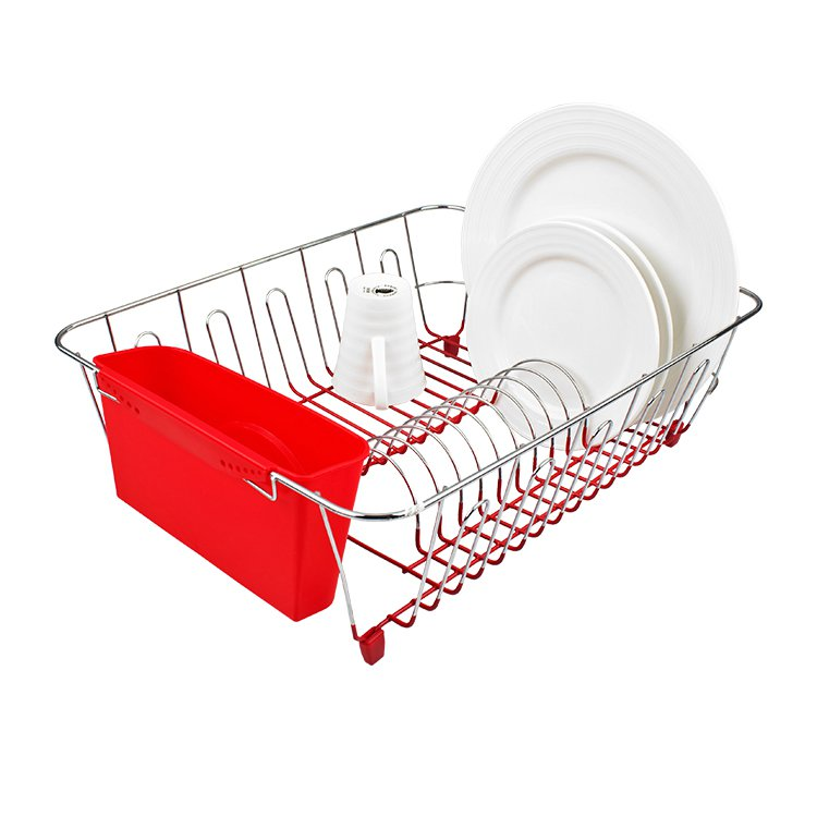 D.Line Dish Drainer Chrome & PVC with Caddy Large Red