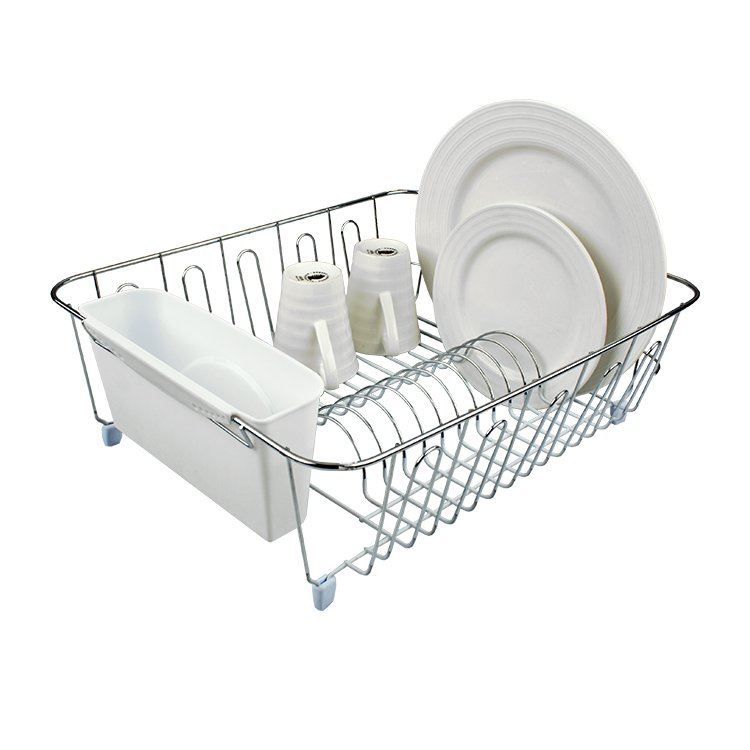 D.Line Dish Drainer Chrome & PVC with Caddy Large White