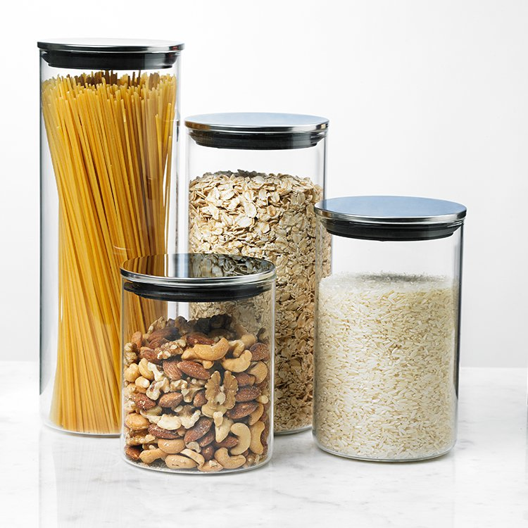 Davis & Waddell Glass Canister w/ Stainless Steel Lid Set of 4
