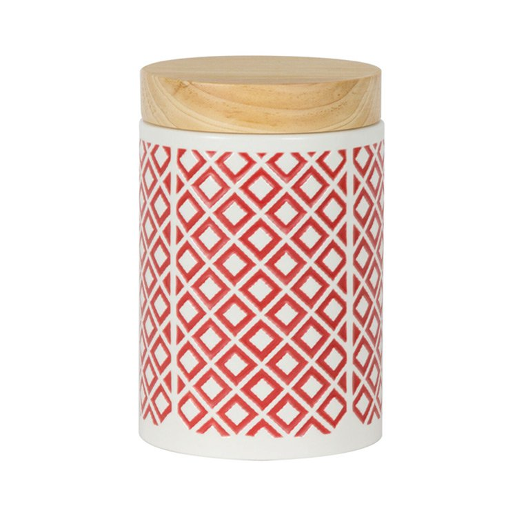 Leaf & Bean Embossed Canister 1.7L Red
