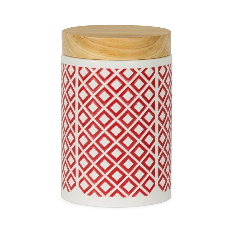 Leaf & Bean Embossed Canister 1.15L Red