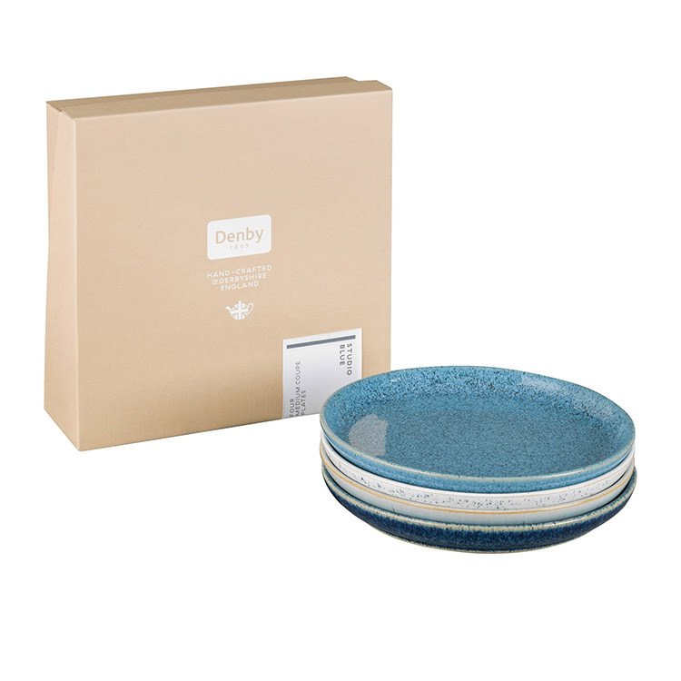 Denby Studio Blue Coupe Dinner Plate 21cm Set of 4