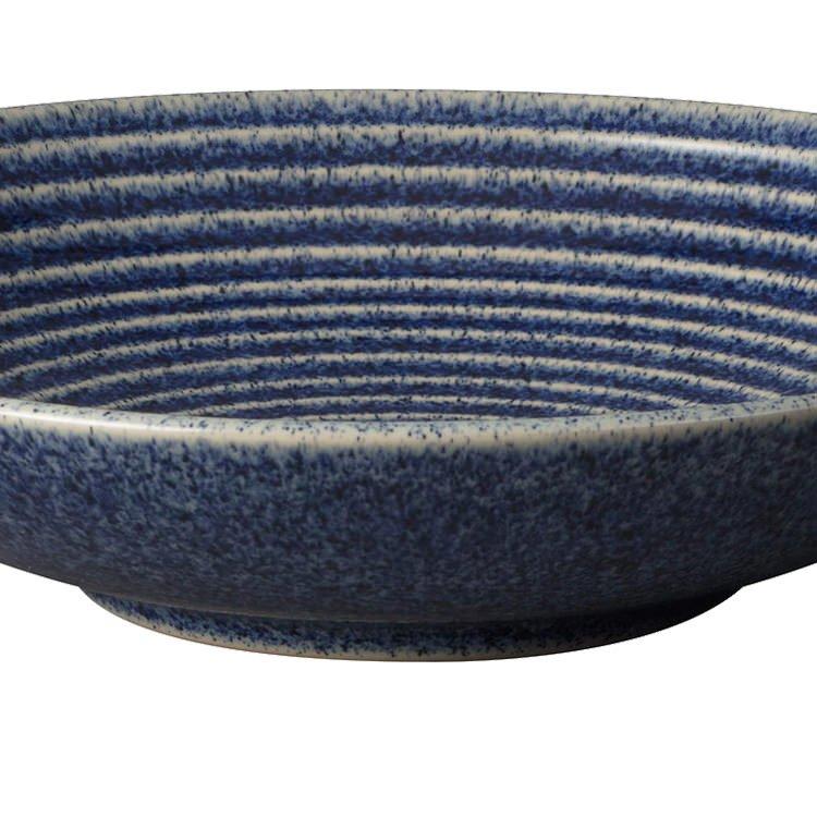 Denby Studio Blue Ridged Bowl 25.5cm Cobalt