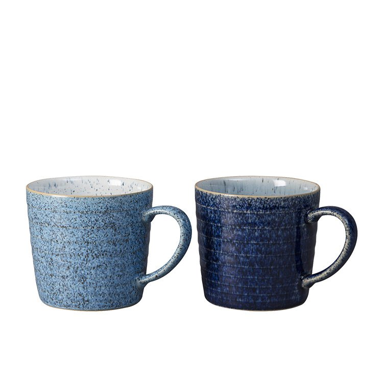 Denby Studio Blue Ridged Mug 400ml Set of 2