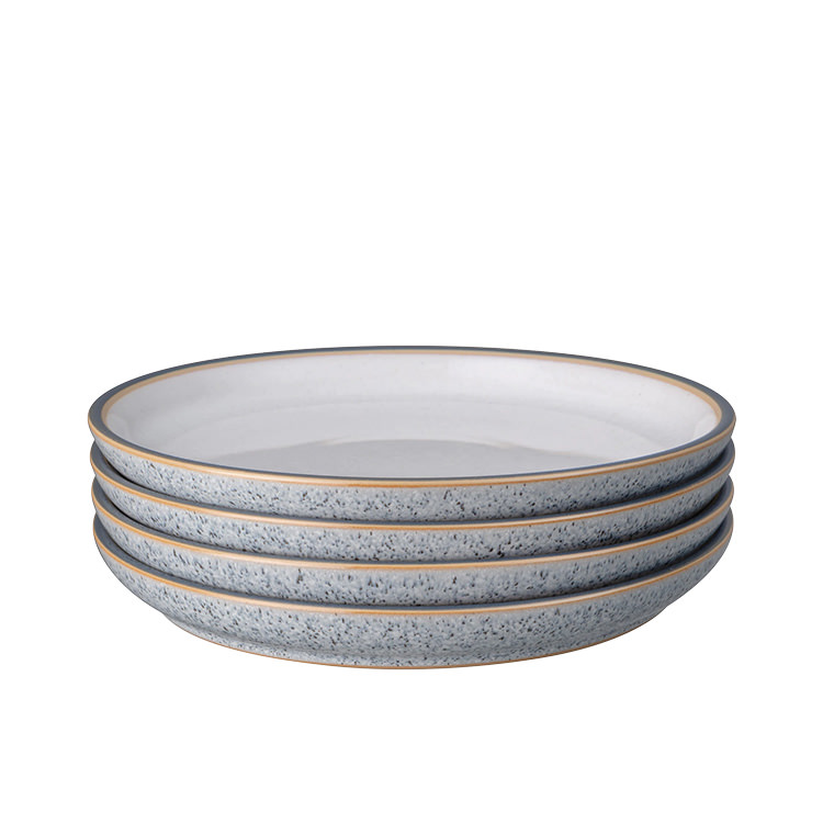 Denby Studio Grey Medium Coupe Plate 21cm Set of 4 White
