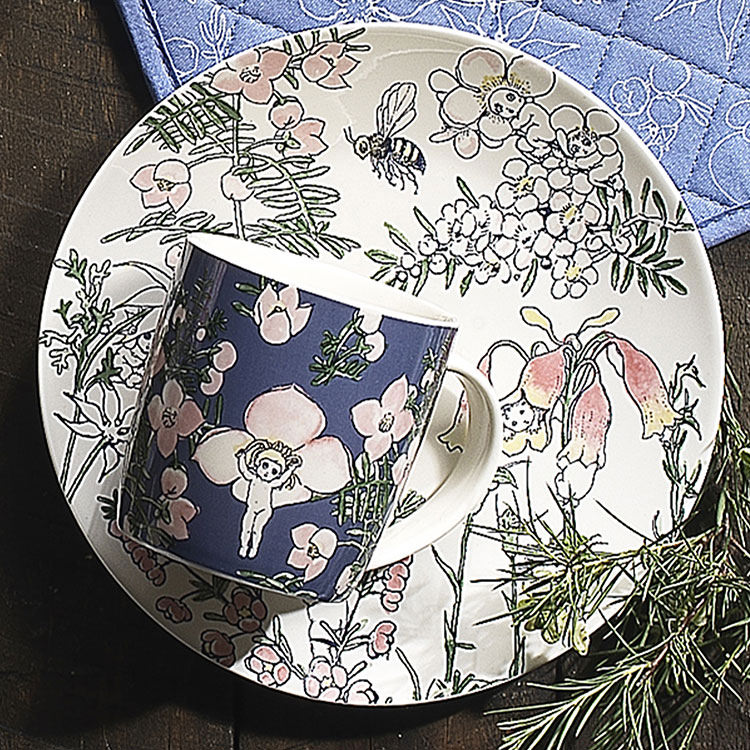 Ecology May Gibbs Mug & Coaster 320ml Flower Babies - Blue