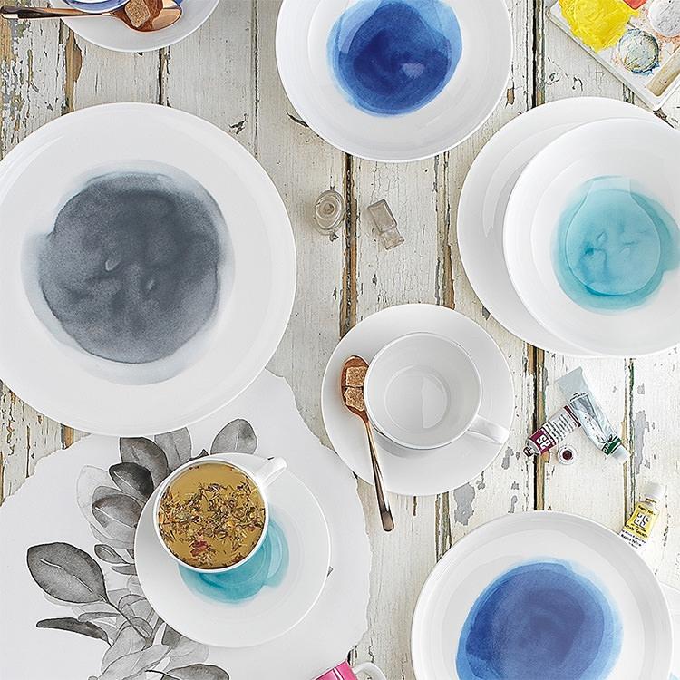 Ecology Watercolour 12pc Dinner Set Ocean Blue