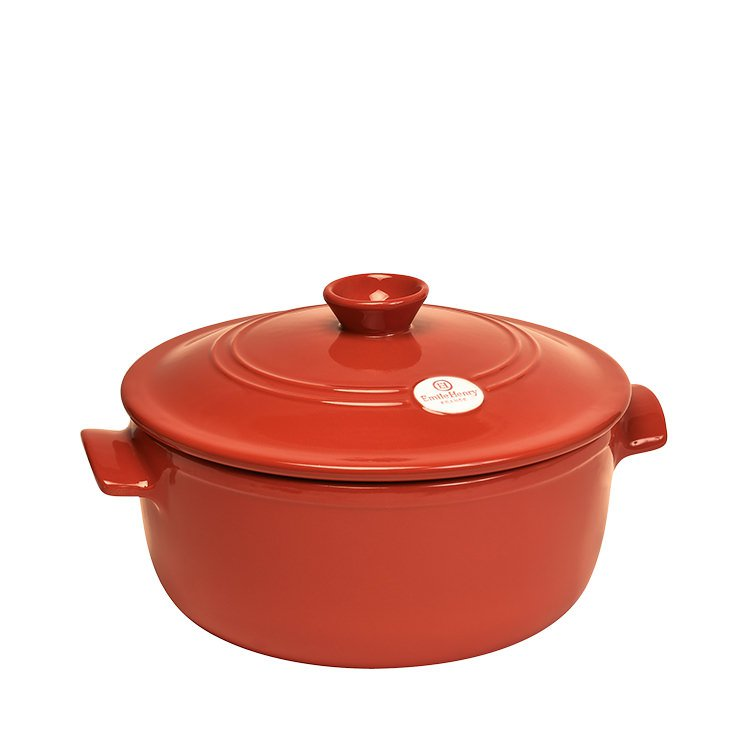 emile henry flame round casserole 30cm red brick fast shipping. Black Bedroom Furniture Sets. Home Design Ideas