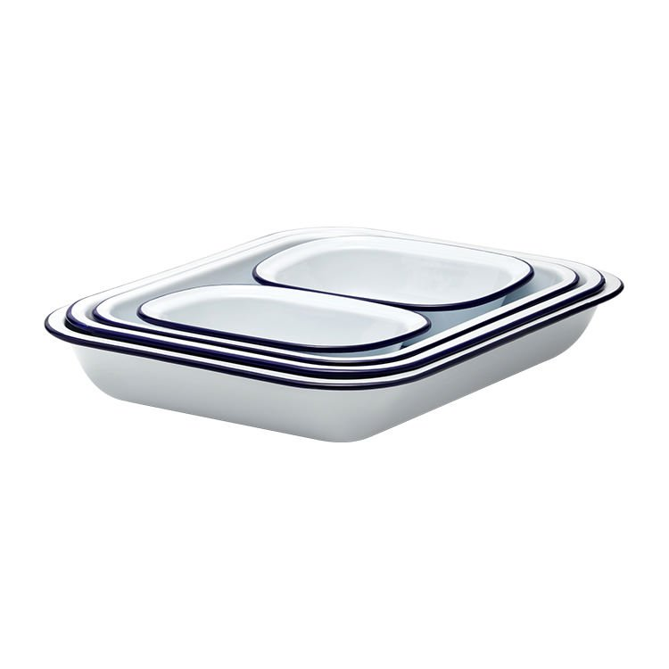 Falcon Enamel Baking Set 5pc White/Blue Rim