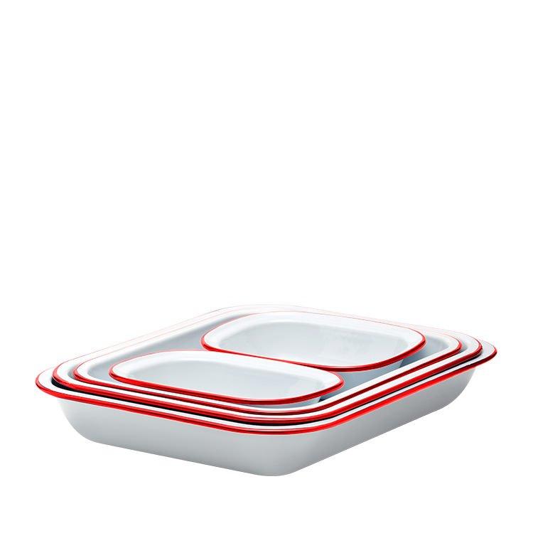 Falcon Enamel Baking Set 5pc White/Red Rim