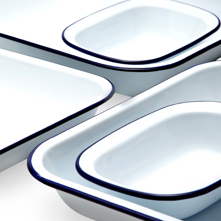 Falcon Enamel Baking Set 5pc White/Blue Rim