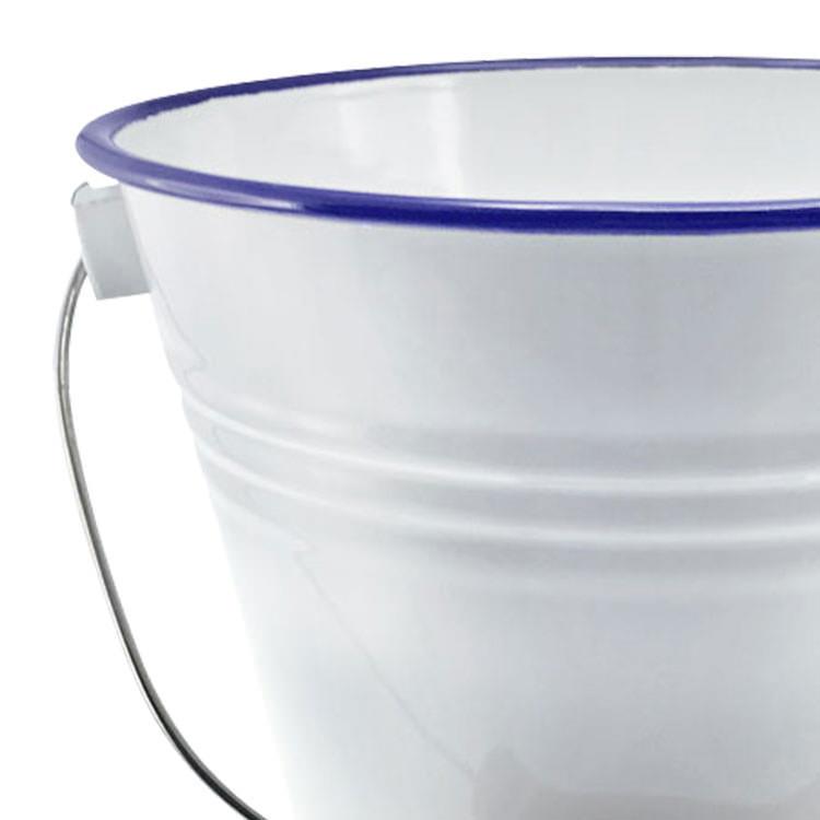Falcon Enamel Bucket with Lid White/Blue Rim