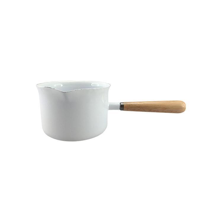 Falcon Enamel Milk Pan w/ Wood Handle 400ml White