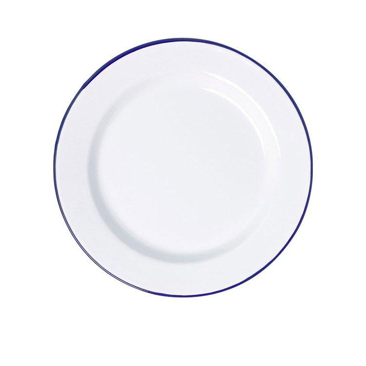 Falcon Enamel Dinner Plate 26cm White/Blue Rim