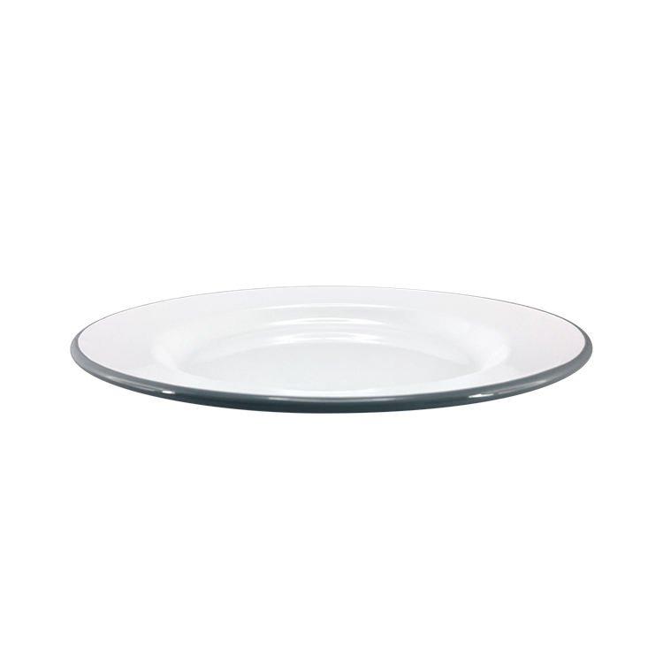 Falcon Enamel Dinner Plate 26cm White/Grey Rim