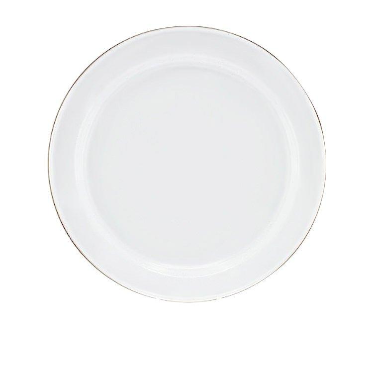 Falcon Enamel Dinner Plate 26cm White/Stainless Steel Rim